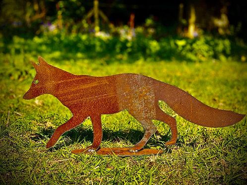 Rustic Metal Fox Garden Art Sculpture