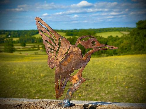 Rustic Metal Kingfisher Bird Fence Topper Garden Art Sculpture