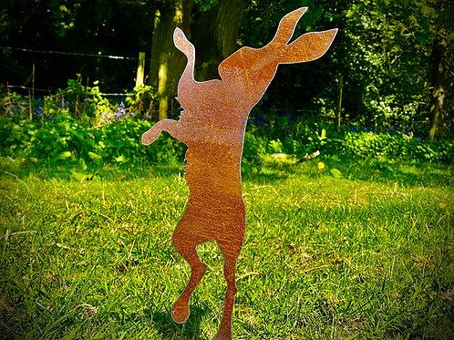 Rusty Single Boxing Rabbit/Hare Garden Stake Yard Art Metal Sculpture