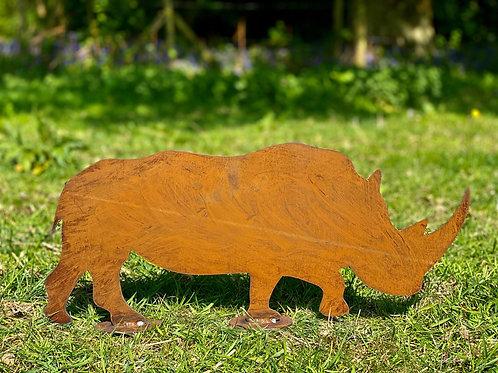 Rustic Metal Rhino Garden Art Sculpture