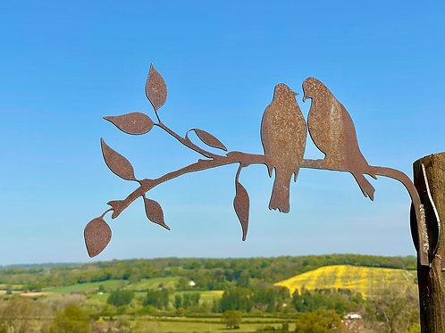 Rustic Metal Love Birds Garden Art Sculpture