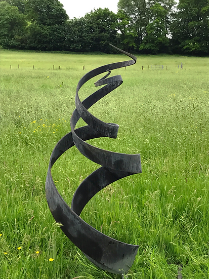 'Spiral' Abstract Sculpture -Zinc Galvanise