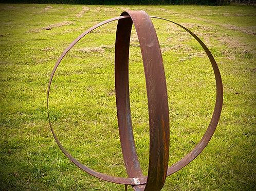 Large Rustic Metal Wide Garden Ring Sculpture-Pair of Rusty Ring Circle Garden