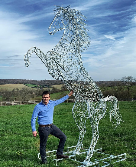 SOLD - 13 ft Rearing Horse Sculpture