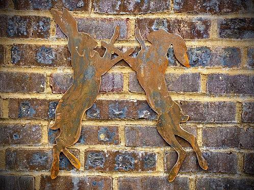 Rusty Wall Pair Boxing Rabbit/Hare Garden Stake Yard Art Metal Sculpture
