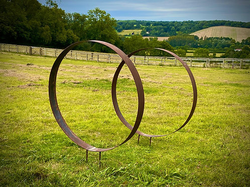 Small Rustic Metal Wide Garden Ring Sculpture - Pair of Rusty Ring Circle Garden