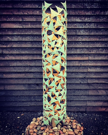 Verdigris & Gold Column Sculpture