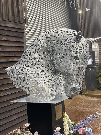 Working Horse Head Busk Sculpture