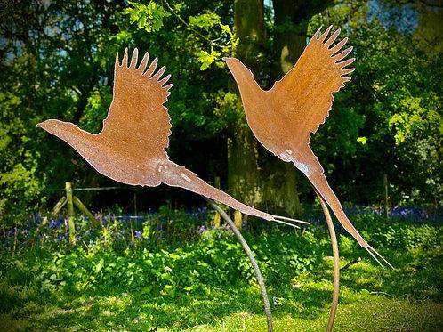 Rustic Metal Pair Of Pheasants Garden Art Scuplture
