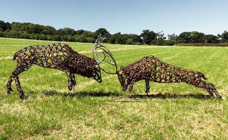 SOLD - 'Fighting Stags' Sculpture