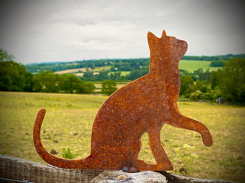 Rustic Rusty Metal Cat Selection Garden Fence Topper Yard Art Lawn Sculp