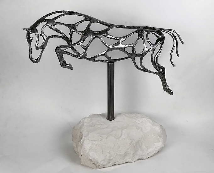 Abstract Jumping Horse Sculpture