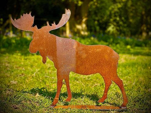 Rustic Metal Moose Garden Art Sculpture