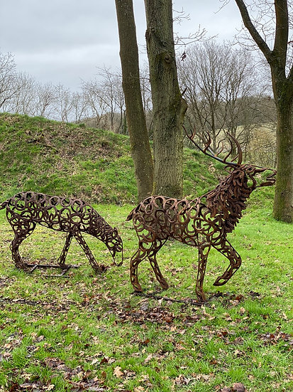 3/4 Size Stag & Doe Sculpture