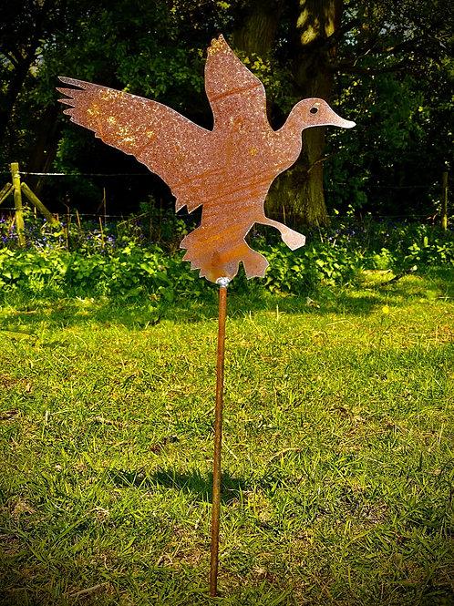 Rustic Metal Flying Duck Garden Art Sculpture