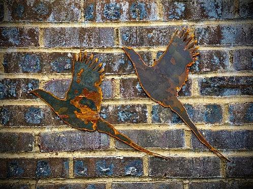Rustic Metal Pair Of Pheasants Wall Garden Art Scuplture