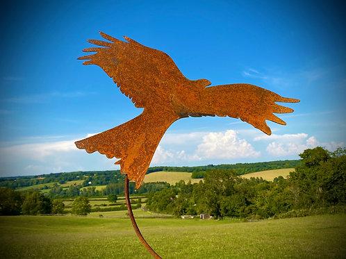 Rustic Metal Red Kite Bird Of Prey Garden Stake Yard Art Lawn