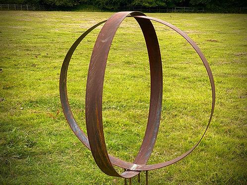 Medium Rustic Metal Wide Garden Ring Sculpture -Pair of Rusty Ring Circle Garden