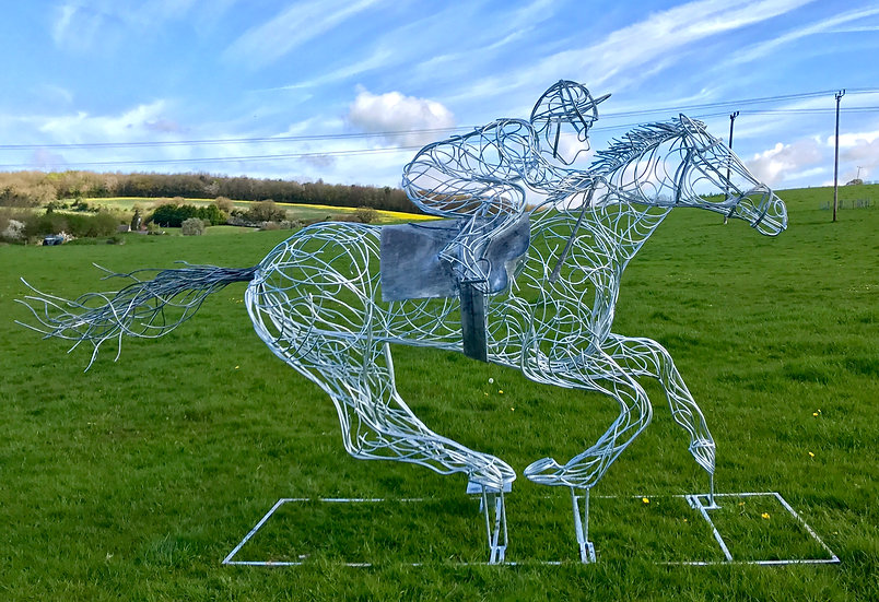 *SOLD* Race Horse Sculpture - Injured Jockey Chairty