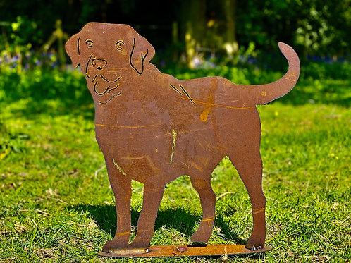 Rustic Metal Labrador Dog Garden Art Sculpture