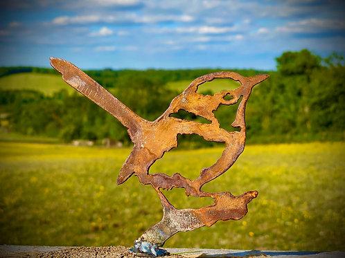 Rustic Metal Wren Bird Fence Topper Garden Art Sculpture