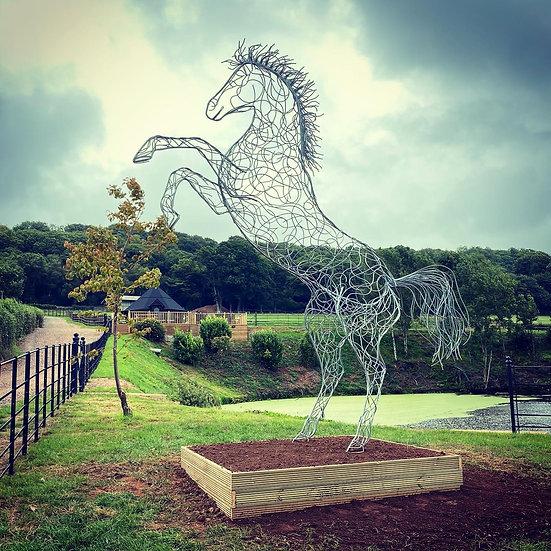 Rearing Horse Sculpture - Prancing Stallion
