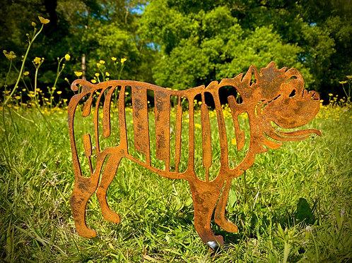 Rustic Bulldog Dog Garden Stake Yard Art