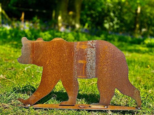 Rustic Metal Grizzly Bear Garden Art Sculpture