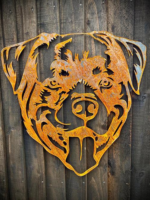 Rusty Rottweiller Dog Garden Wall House Gate Sign Hanging Metal Art