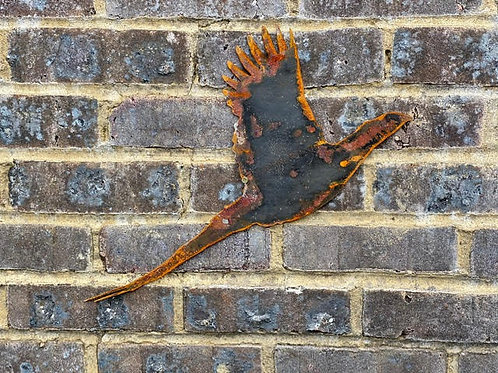 Rustic Metal Single Pheasant Wall Garden Art Scuplture