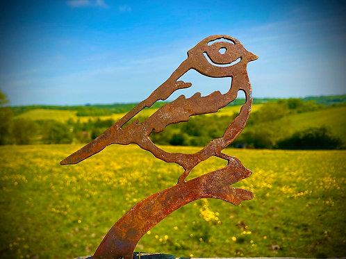Rustic Metal Blue Tit Bird Fence Topper Garden Art Sculpture