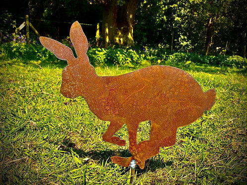 Rusty Running Rabbit/Hare Garden Stake Yard Art Metal Sculpture