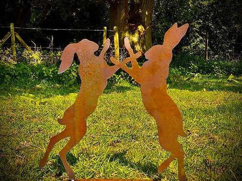 Rusty Boxing Rabbits/Hares Garden Stake Yard Art Metal Sculpture