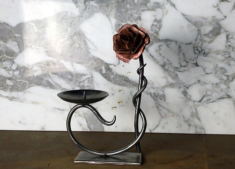Valentines Handforged Rose Candle