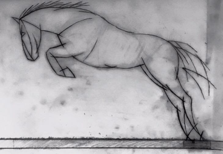 Abstract 'Jumping Horse' Scultpure