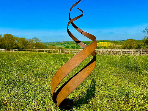 Rustic Spiral Fire Energy Flowing Organic Metal Sculpture