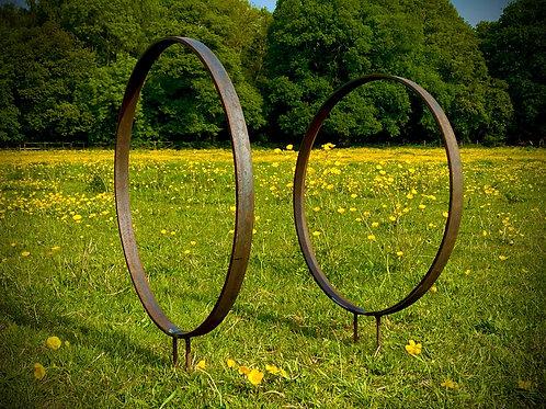 Rustic Metal Garden Ring Hoop Sculpture - Pair of Rusty Ring Circle Garden