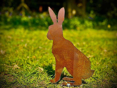 Rusty Sitting Rabbit/Hare Garden Stake Yard Art Metal Sculpture