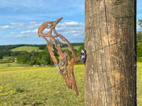 Rustic Metal Woodpecker Bird Fence Topper Garden Art Sculpture