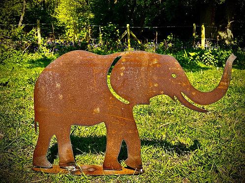 Rustic Metal Elephant Garden Art Sculpture