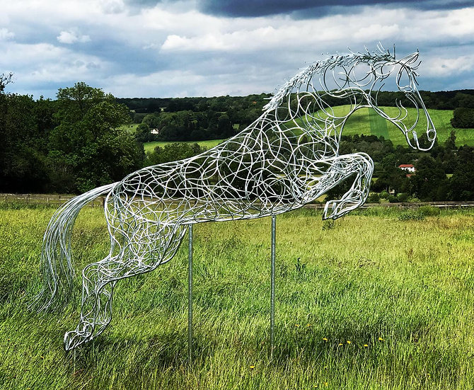 SOLD 'Blue Memory' Jumping Horse Sculpture
