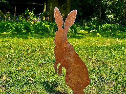 Rustic Metal Peter Rabbit/Hares Garden Stake Yard Art Sculpture