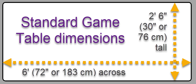 "The ""Standard Game Table"" dimensions"