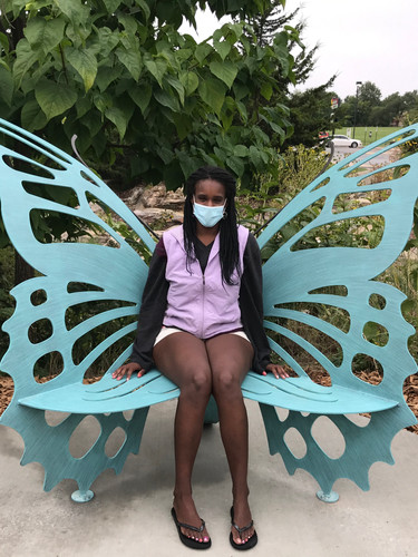 The first official visitor to the Flatbranch Park butterfly bench!
