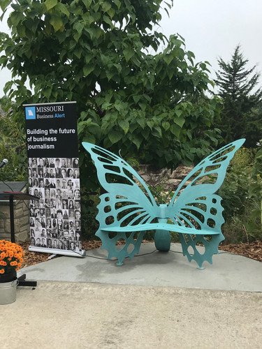 The new butterfly bench in Flatbranch Park, dedicated to all businesses, past and present, who contributed to the caring nature of the community during the COVID-19 pandemic.
