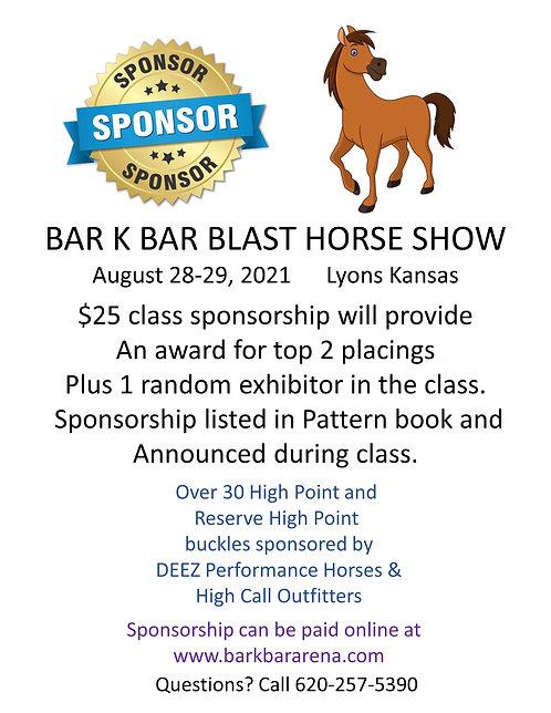 Blast Show Class Sponsor