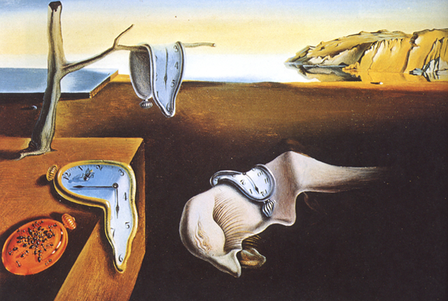 the picture describes clocks melting in a landscape
