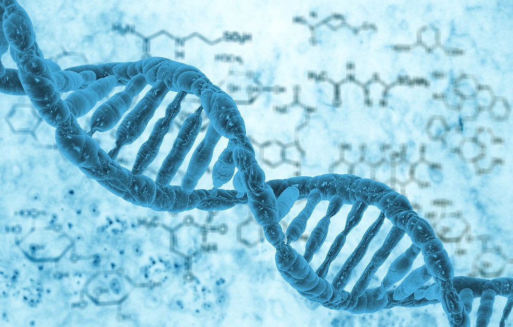 a beautiful illustration of a blue DNA