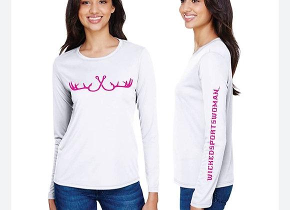 WICKEDSPORTSWOMAN Ladies Long Sleeve Cooling Performance Crew Shirt