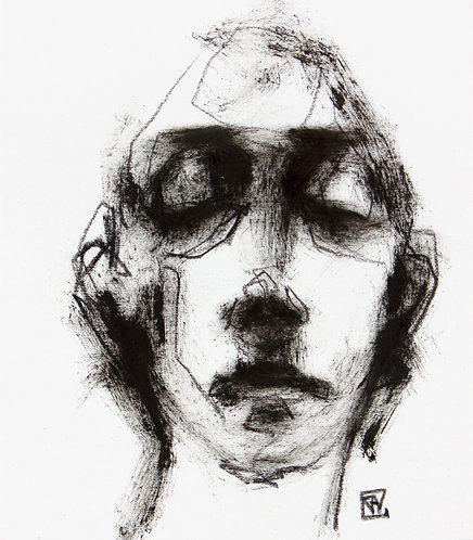 Male portrait, oil, 12,5x11cm